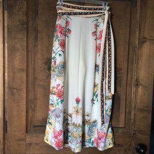 Wide legged, floral, split pant/skirt